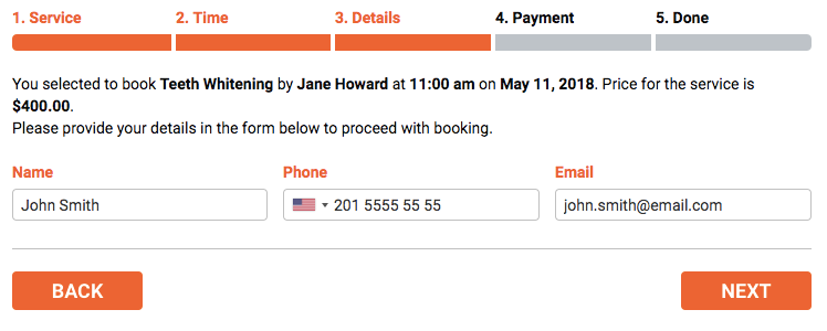 Bookly booking form - step 3