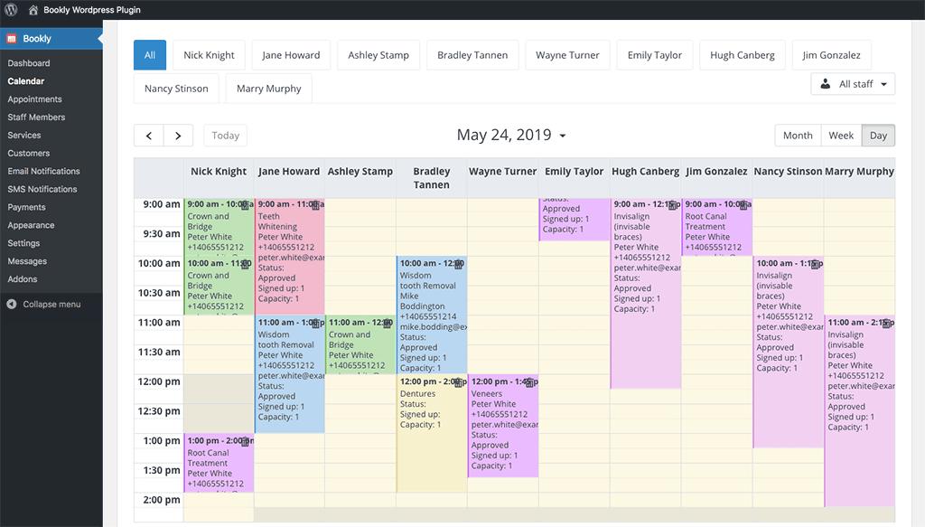 Bookly online calendar - backend