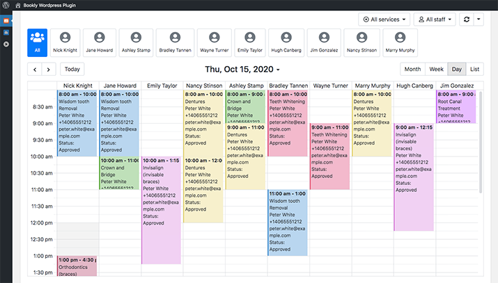 Keep track of appointments by color-coding services