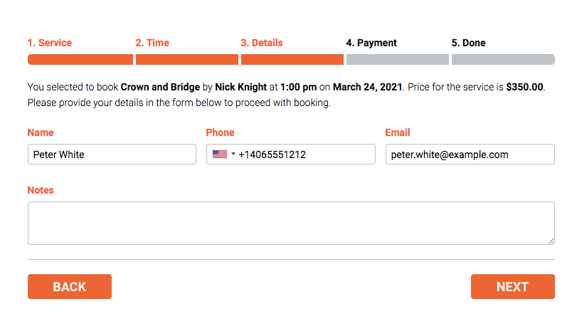 Bookly booking form