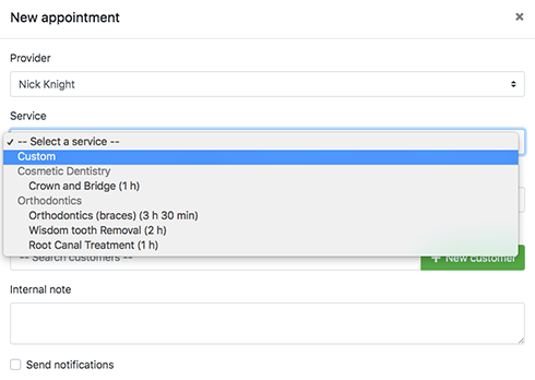 Create appointments with custom service