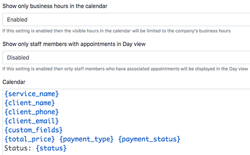 Edit the record template displayed in the calendar