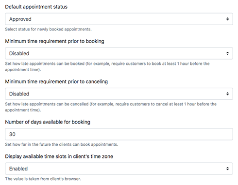 Set minimum notice periods for bookings & cancellations