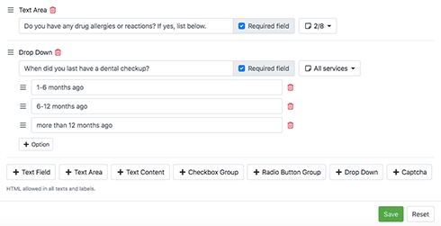 Various types of custom fields in your booking form