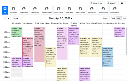 View calendar in daily/weekly/monthly modes